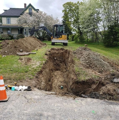 Excavation for a sewer line repair