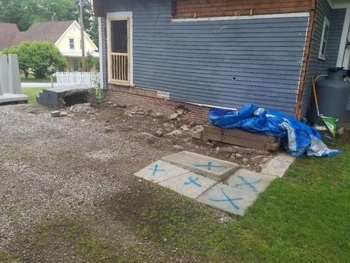 Before porch pier installation