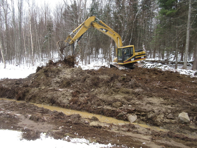 Excavator, Drainage Project Whitefield, NH